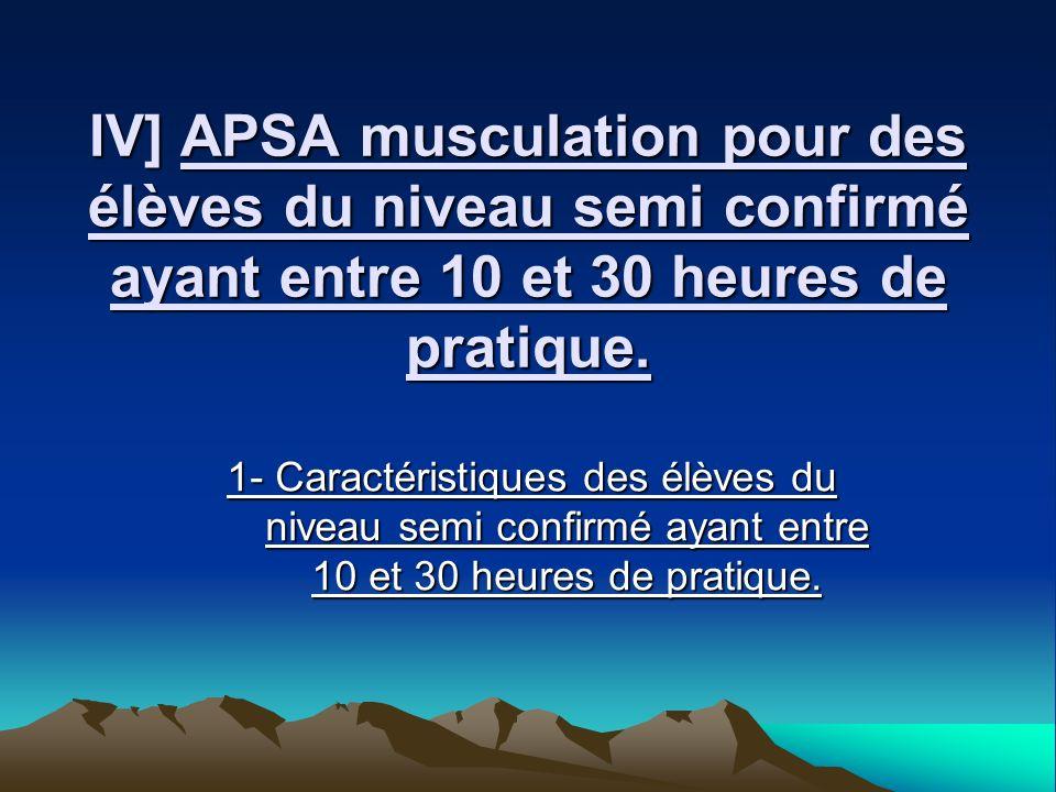 IV] APSA musculation pour des élèves du niveau semi confirmé ayant entre 10 et 30 heures de pratique.